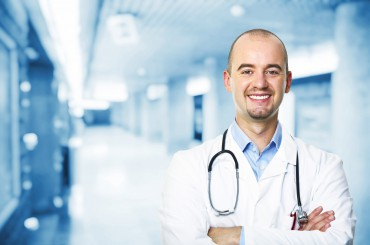 portrait of caucasian doctor in hospital