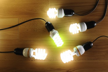 Energy saving light bulbs on hardwood - Stock Image
